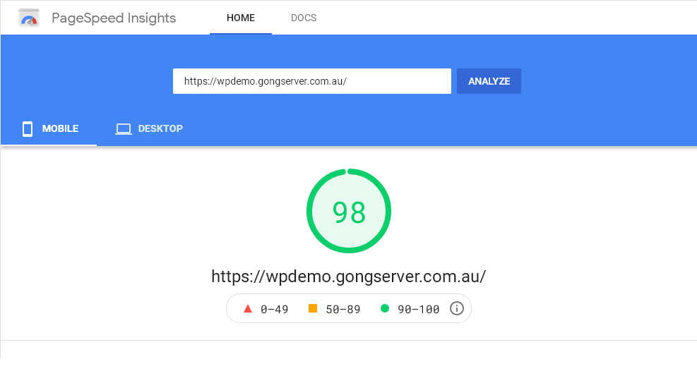 Screenshot of this Baseline demo website scoring 98% on Google's Page Speed Insights evaluation